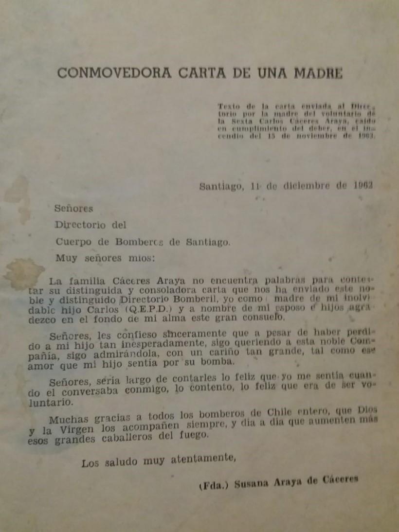 Carta de la Madre del Martir Carlos Caceres